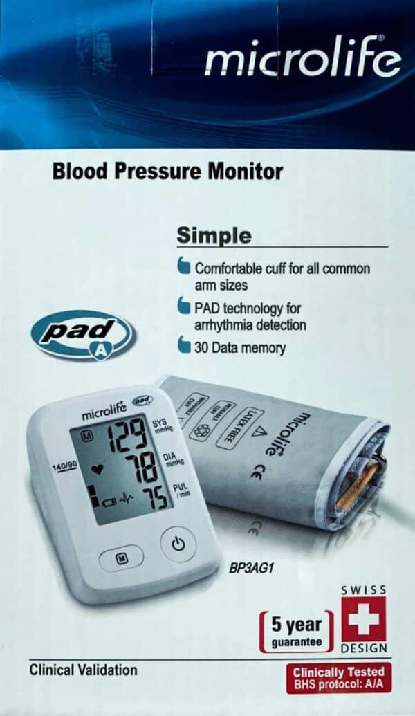 Baumanometro Digital en su caja que muestra el brazalete color gris, foto del equipo para medir la presión
